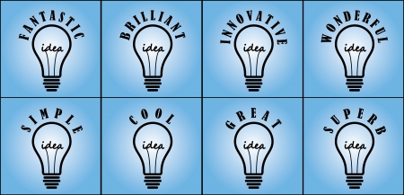 Idea Concept using light bulb using 8 different commonly used adjectives