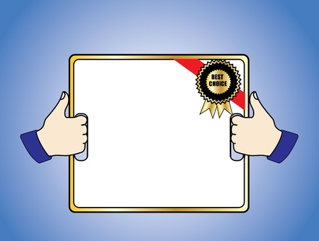 thumps up: Best Choice Badge on a White Board held by 2 hands with a thumps up sign