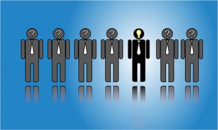 het kiezen van de juiste kandidaat - een rij van kandidaten of werkgevers of mensen met een clueless vraagteken in hun hoofd met een enkele man in het midden met een idee Stockfoto