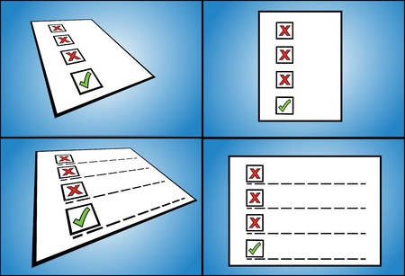 right and wrong - List of wrong check box options followed by a right check box option written on paper  perspective view