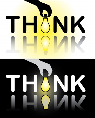 Think text with a hand placing a bright glowing light bulb in place of letter I Stock Photo - 17613175
