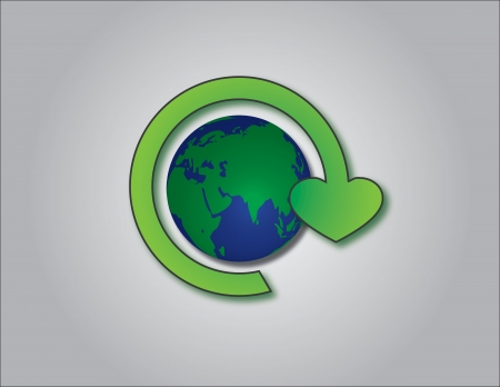 recycling symbol ending with a heart sign along with planet earth logo in the center Stock Photo - 17613096