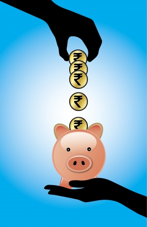 Hand silhouette saving or adding a set of Indian Rupee coins into a piggy bank - Concept of Saving