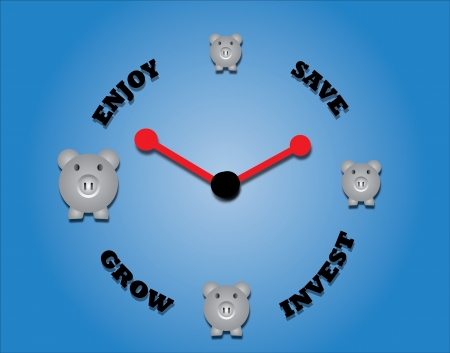 Concept of saving, investing, growing and enjoying using piggy bank and a clock symbol