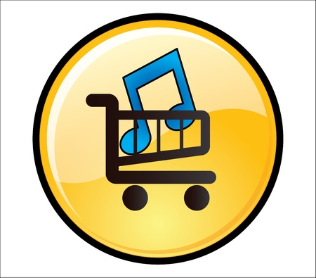 Buy Music Button - A glossy yellow button with a music icon on a shopping trolley Stock Photo