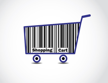 Bar code Shopping Cart Illustration with text Stock Illustration - 17613068