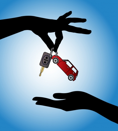 Human hands exchanging modern car keys with automatic locking system and red car symbol Archivio Fotografico