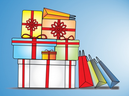 Colorful, nicely wrapped, decorated gift boxes and shopping bags on a big Sale Stock Photo - 17613179