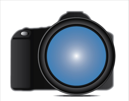 Close up illustration of a SLR Camera Lens attached to Camera body against a white background illustration