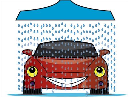 Illustratie van een wasstraat met een blauwe douche gieten zoet water druppels op een heldere rode gelukkige auto