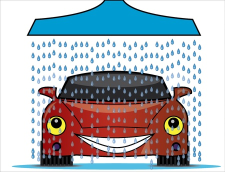 Illustration of a car wash with a blue shower pouring fresh water droplets on to a bright red happy car Illustration