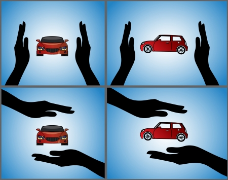 insure: four different Illustrations of a Car Insurance or Car Protection using Hand Silhouettes and front and side views of a beautiful red Car