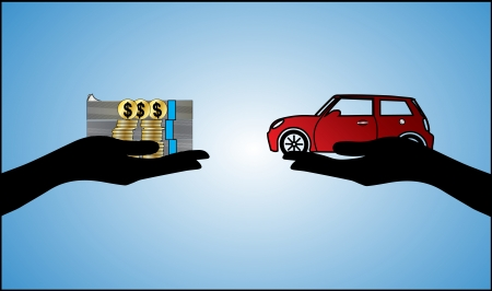 Illustrations of a Car loan in US Dollars or Car Payment using Hand Silhouettes and a beautiful red Car Vector