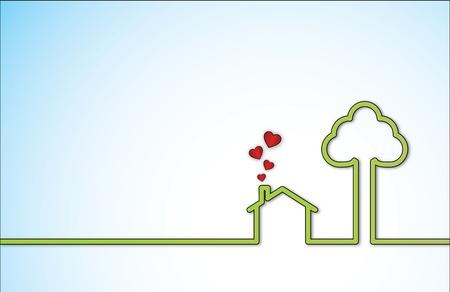 maison: Simple illustration Sweet Home avec une maison isol�e vert � c�t� d'un grand arbre avec des ic�nes en forme de coeur rouge qui sort de la chemin�e