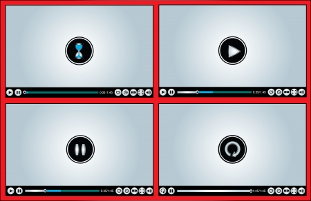 Web or Internet based Glossy Video Player different versions - Loading/Buffering, Play, Pause and Replay illustration with different buttons (Like, watch later, HD, Full Screen Mode, Volume Control)
