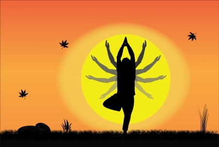 Young Man performing Yoga at sunrise or sunset in a peaceful setting with hand positions at different points Vector