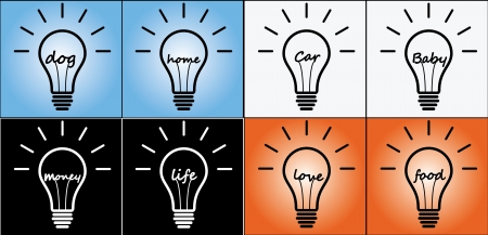 Illustration Concept of Idea using light bulb in Life, Love, Food, Baby, Car, Home, Dog, Money Stock Vector - 20574065