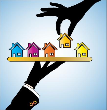 Illustrazione di acquisto di una casa - Un cliente di scegliere una casa di sua propria scelta da diverse scelte di case offerti a lui lei Archivio Fotografico - 17885046