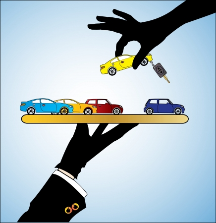 Illustration of Car Sale - A customer choosing a Car of his her choice from different types of cars offered to him Vettoriali