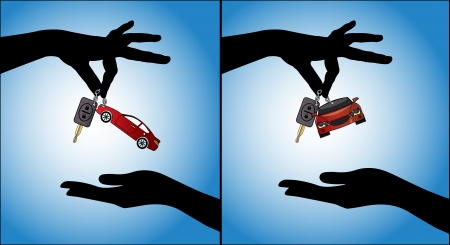 Two different illustrations of Human hands exchanging modern car keys with automatic locking system and red car symbol