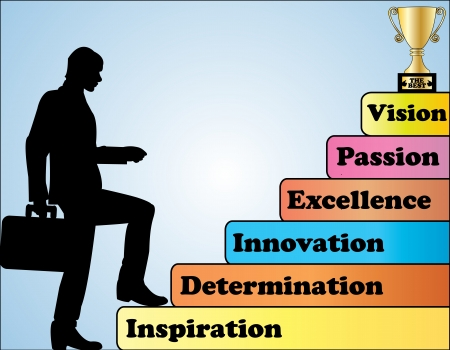 subir escaleras: Success Concept Ilustración - Un hombre de negocios profesional escalar un conjunto de medidas de comportamiento necesarios para ser los mejores en el mundo Vectores