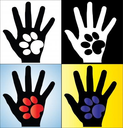 patas de perros: Ilustración del concepto de la mano humana que sostiene una pata Silueta de un perro o un gato