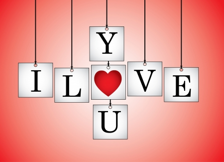 replaced: Concept Illustration of I Love You - I Love you letters each on a hanging white board with letter O Replaced with red heart with a red background