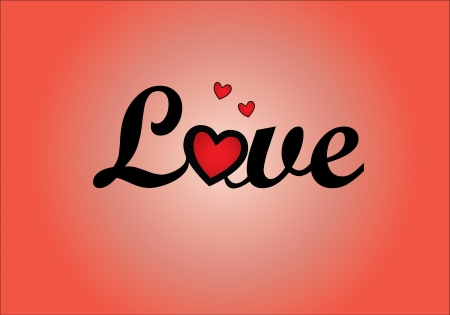 Concept Illustration of Love - Curly representation of letters of word Love letters with letter O Replaced with red heart with a red background