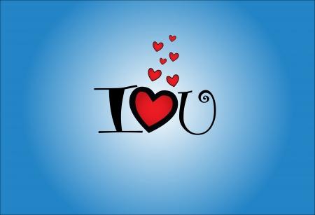 te quiero: Ilustración Concepto de Te Amo - I Love U y, cada una representada por un personaje con el corazón rojo con un fondo azul