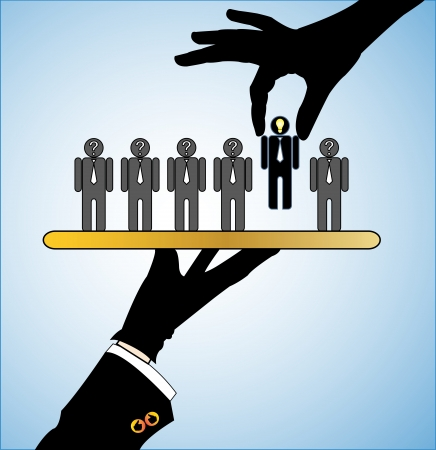 Concept Illustration of Best Choice  Row of candidates or employers or people with question marks in their head with a single candidate with a bright head  light bulb  being served on a platter and another hand choosing the best