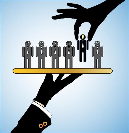 Ilustración del concepto de Fila mejor opción de candidatos o de los empleadores o las personas con signos de interrogación en la cabeza con un único candidato con una bombilla de luz brillante cabeza que se sirve en un plato y la mano de otro elegir el mejor Ilustración de vector