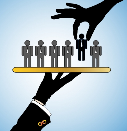 Concept Illustration of Best Choice  Row of candidates or employers or people with a single candidate being served on a platter and another hand choosing the best
