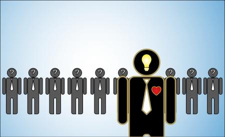 Concept illustratie van leiderschap een rij van kandidaten of werkgevers of mensen met vraagtekens in hun hoofd achter een heldere gepassioneerde leider staat in voor