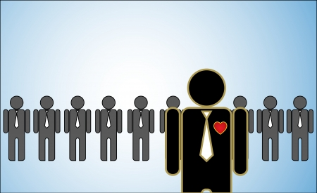 Illustrazione del concetto di Leadership una fila di candidati o dei datori di lavoro o persone in piedi dietro un capo in piedi luminoso davanti Archivio Fotografico - 18562476