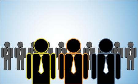 followers: Illustrazione del concetto di molti leader di una fila di candidati o dei datori di lavoro e persone in piedi dietro Tre leader luminosi in piedi davanti
