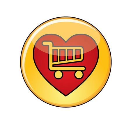 Illustration of Love Shopping Concept: A Glossy or Shiny Yellow Button with Red Heart containing a shopping trolley