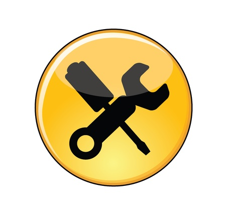 screw driver: Illustration of Love for video games Concept  A Glossy or Shiny Yellow Manage Settings Button with a screw driver and a spanner