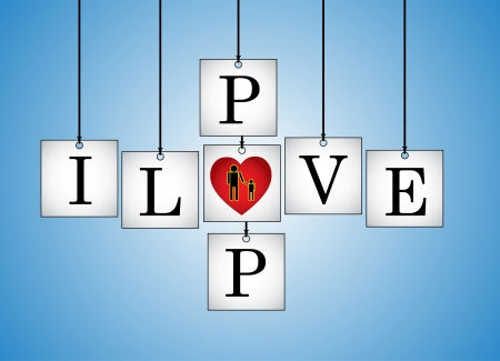 replaced: Concept Illustration of I Love Dad - I Love pop letters each on a hanging white board with letter O Replaced with red heart with a blue background Illustration