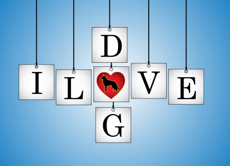 Concept Illustration of I Love Dog - I Love Dog letters each on a hanging white board with letter O Replaced with red heart having a dog silhouette with a blue background