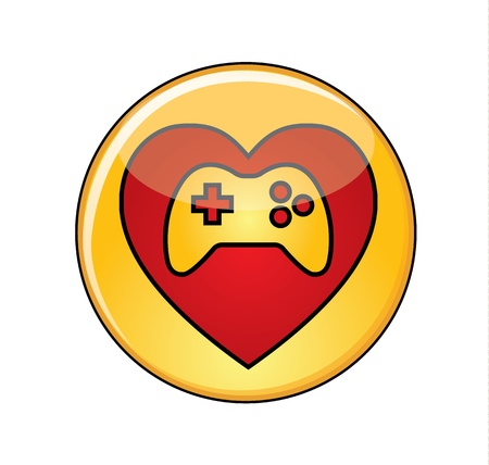 Illustration of Love for video games Concept  A Glossy or Shiny Yellow Button with Red Heart containing a thumbs-up icon