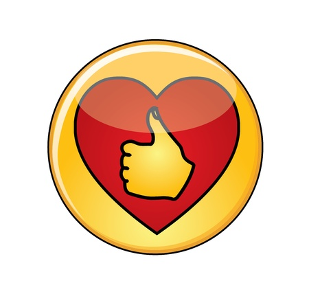 thumbsup: Illustration of Love and like Concept  A Glossy or Shiny Yellow Button with Red Heart containing a thumbs-up icon Illustration