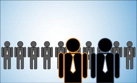 Concept Illustration of Many Leaders: a row of candidates or employers or people standing behind Two bright leaders standing in front. Vettoriali