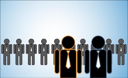 followers: Illustrazione del concetto di molti leader: una fila di candidati o dei datori di lavoro o le persone in piedi dietro Due leader brillante in piedi di fronte.