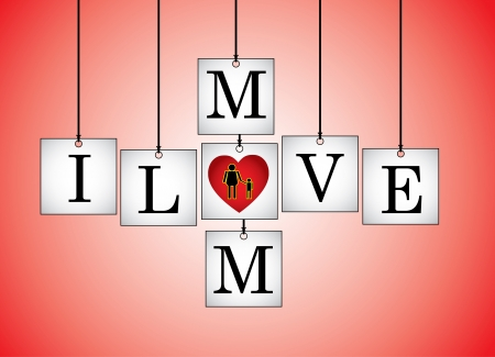 Concept Illustration of I Love Mother (Mom) - I Love mom letters each on a hanging white board with letter O Replaced with red heart with a Red background