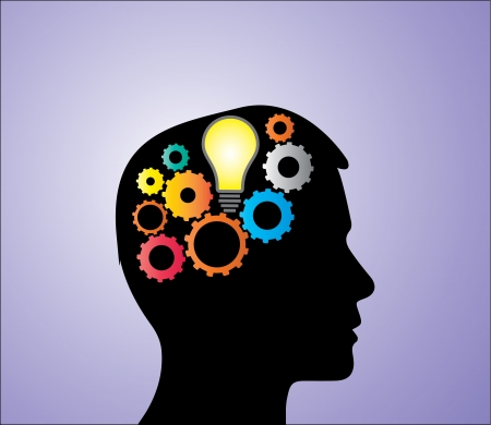 rationality: Concept Illustration of Solution or Idea creation: A bright light bulb and bright mechanical gears inside a human head silhouette
