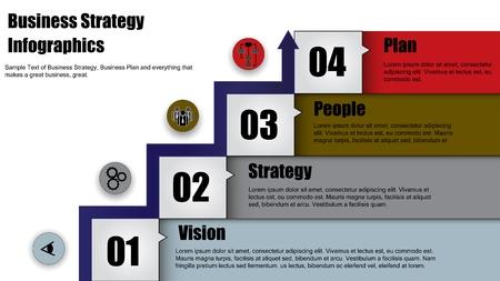 Concept Illustratie van vier stappen bedrijfsstrategie of business plan met pijl hoofd van