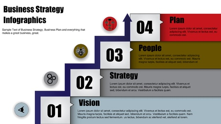 Concept Illustration of four step business strategy or business plan with arrow heading up Vector