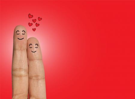 Coppie felici che pensano o che sognano di amore - illustrazione di concetto di amore facendo uso delle dita Archivio Fotografico - 19456356