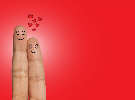 Happy Couple thinking or dreaming of Love - Love Concept Illustration using Fingers