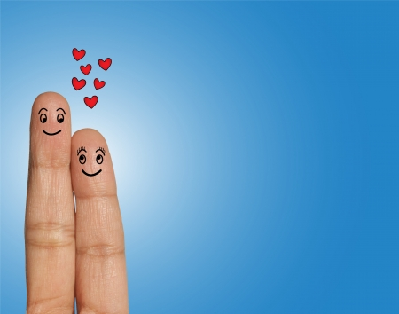 admiration: Happy Couple looking at each other in Love - Love Concept Illustration using Fingers